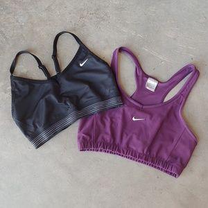 Bundle of 2 Nike Sports Bras large black purple